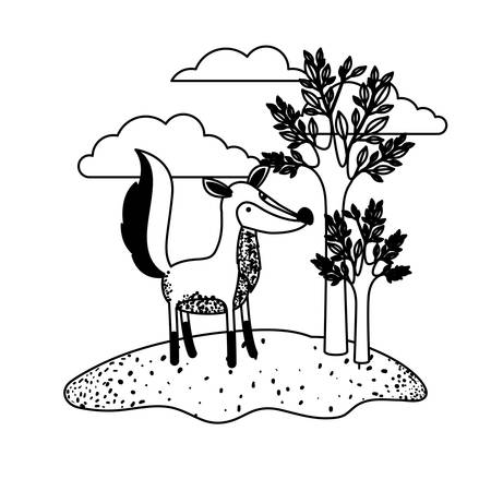 Fox cartoon in outdoor scene with trees and clouds in black sections silhouette vector illustration
