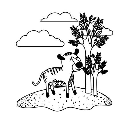 Tiger Cartoon In Outdoor Scene With Trees And Clouds In Black