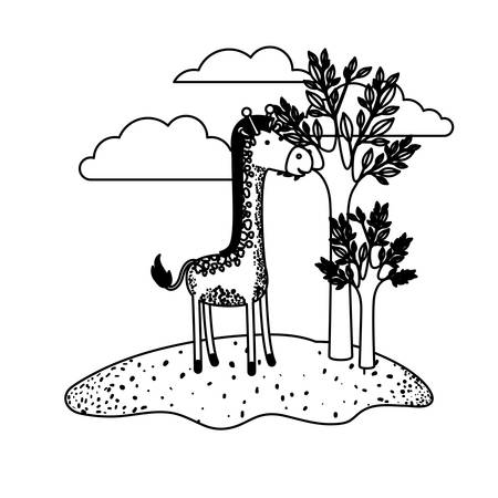giraffe cartoon in outdoor scene with trees and clouds in black sections silhouette vector illustration