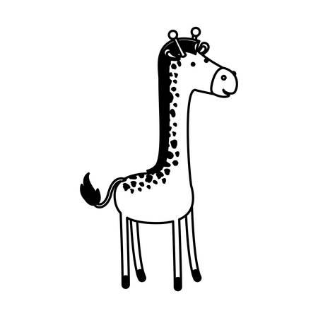 giraffe cartoon in black sections silhouette on white background vector illustration