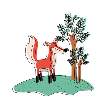 fox cartoon in forest next to the trees in watercolor silhouette vector illustration Illustration