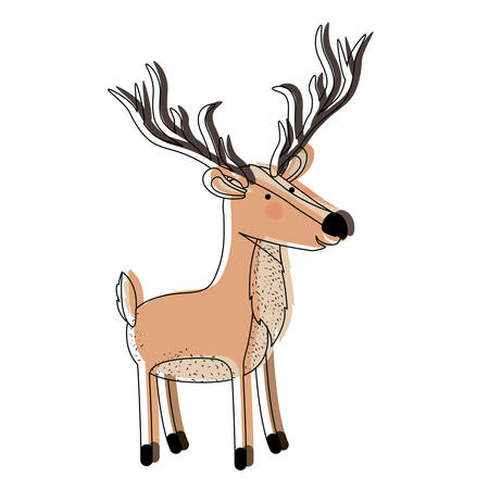 deer cartoon with long horns watercolor silhouette in white background vector illustration Illustration