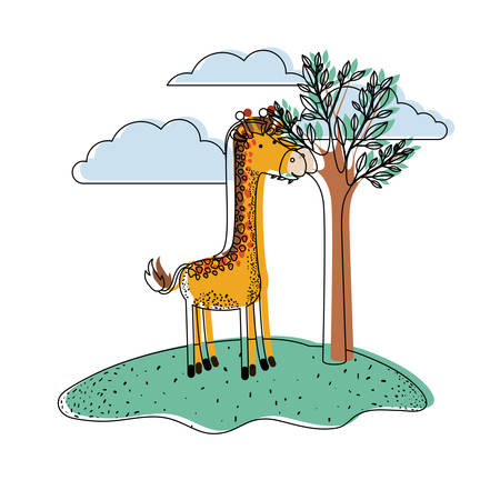 giraffe cartoon in outdoor scene with trees and clouds in watercolor silhouette vector illustration