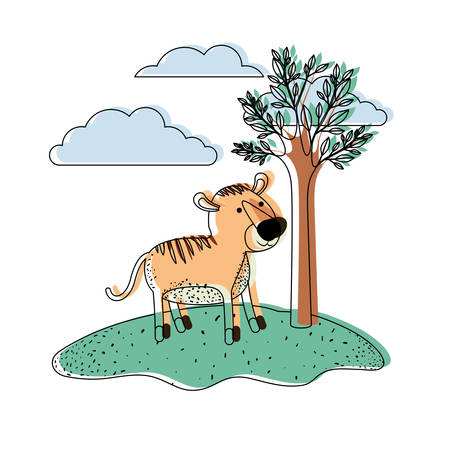 tiger cartoon in outdoor scene with trees and clouds in watercolor silhouette vector illustration