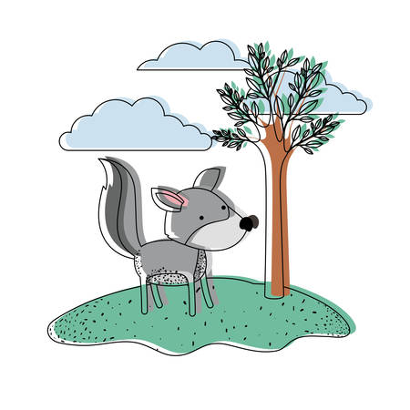 wolf cartoon in outdoor scene with trees and clouds in watercolor silhouette vector illustration