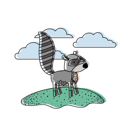 raccoon cartoon in outdoor scene with clouds in watercolor silhouette vector illustration
