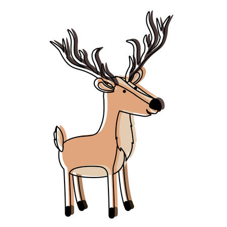 Deer cartoon with long horns colorful silhouette in watercolor silhouette with thin contour illustration.