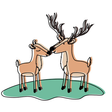 Deer couple over grass in watercolor silhouette vector illustration