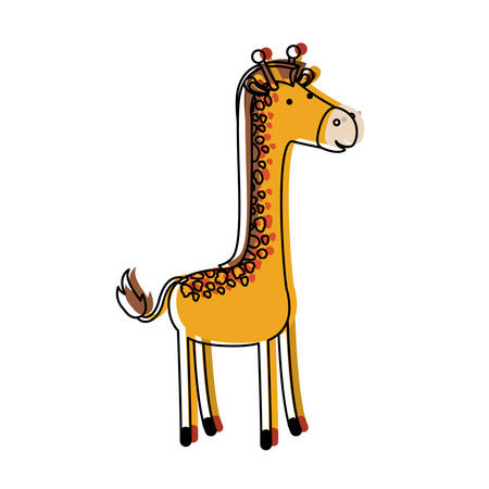 giraffe cartoon in watercolor silhouette with thin contour vector illustration