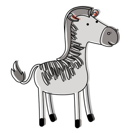 zebra cartoon in watercolor silhouette with thin contour vector illustration