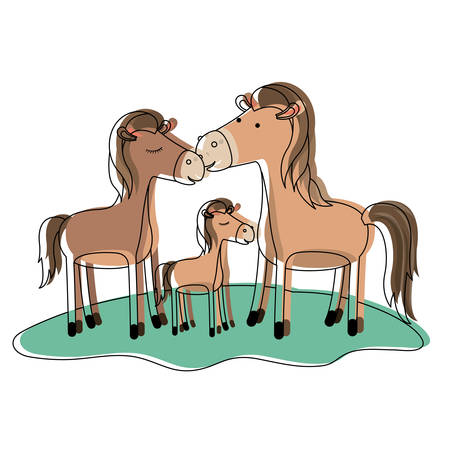 Horses couple and foal over grass in watercolor silhouette illustration.