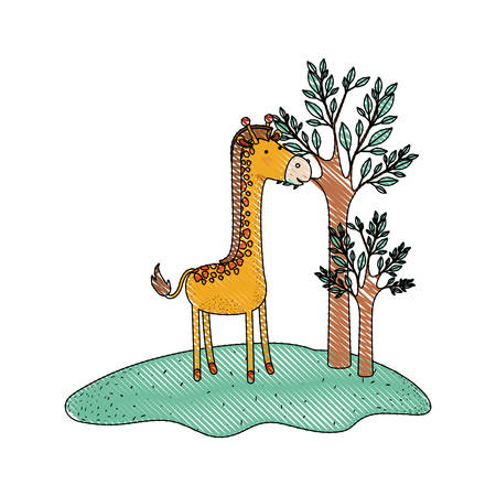 giraffe cartoon in forest next to the trees in colored crayon silhouette vector illustration Illustration