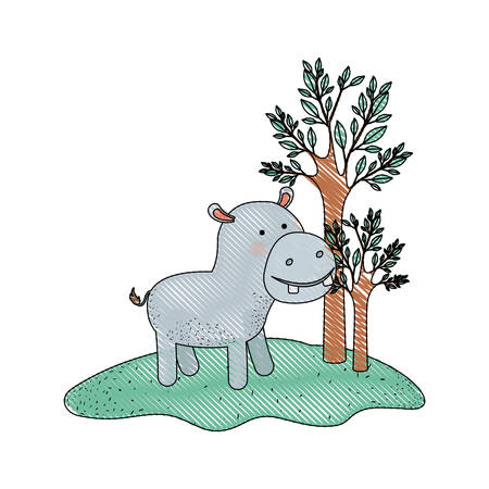 hippopotamus cartoon in forest next to the trees in colored crayon silhouette vector illustration