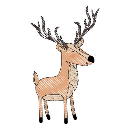 Deer cartoon with long horns colored crayon silhouette in white background vector illustration