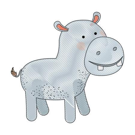 Hipopótamo De Dibujos Animados Color Crayón Silueta En La ...