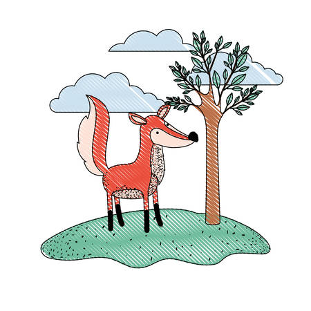 fox cartoon in outdoor scene with tree and clouds in colored crayon silhouette vector illustration