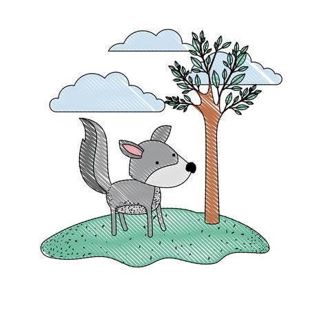 Dibujos Animados De Lobo En Escena Al Aire Libre Con árboles Y Nubes ...