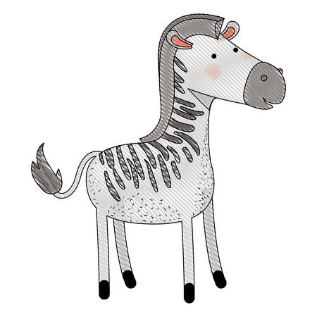 zebra cartoon colored crayon silhouette in white background vector illustration Illustration