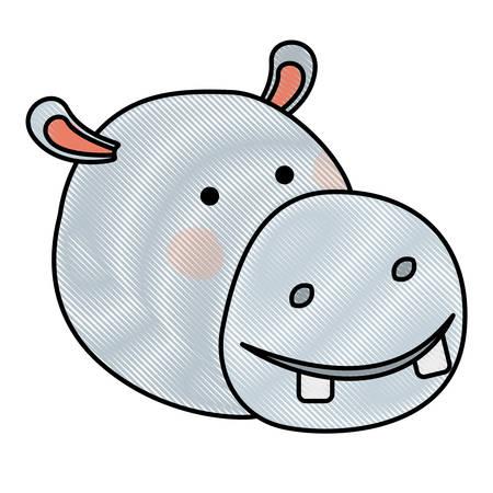 Hippopotamus cartoon head in colored crayon silhouette vector illustration Illustration