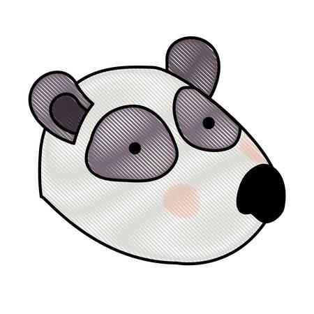 panda cartoon head in colored crayon silhouette vector illustration Illustration