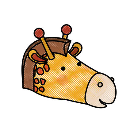 giraffe cartoon head in colored crayon silhouette vector illustration Illustration