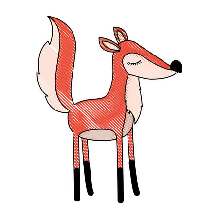 female fox cartoon with closed eyes expression in colored crayon silhouette vector illustration