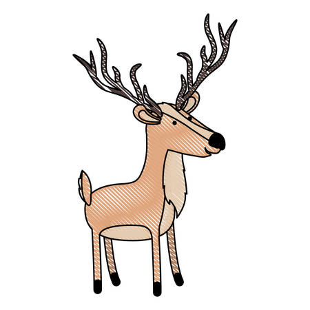 deer cartoon with long horns in colored crayon silhouette with black contour vector illustration Illustration