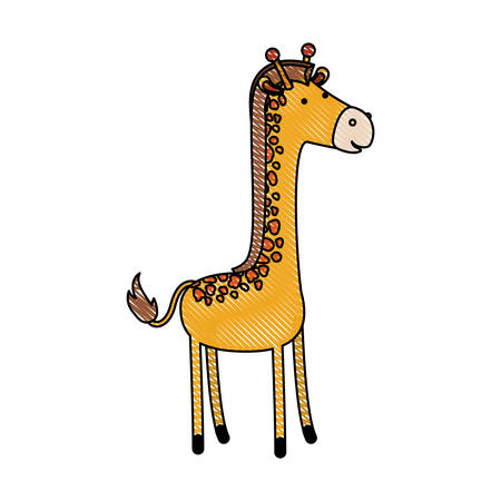 giraffe cartoon in colored crayon silhouette with black contour vector illustration