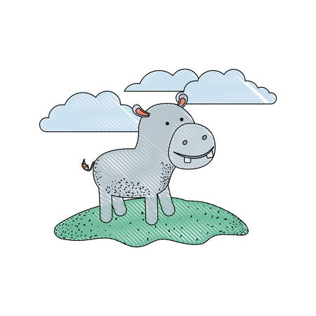 hippopotamus cartoon in outdoor scene with clouds in colored crayon silhouette with thin contour vector illustration