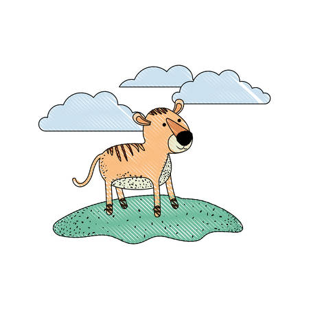 tiger cartoon in outdoor scene with clouds in colored crayon silhouette with thin contour vector illustration Stock Illustratie