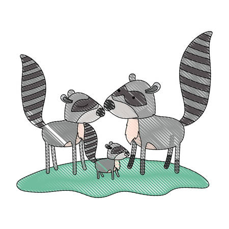 cartoon raccoon couple and cub over grass in colored crayon silhouette vector illustration