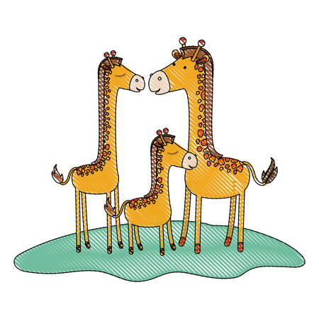 cartoon giraffes couple with calf over grass in colored crayon silhouette vector illustration