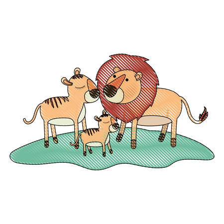 cartoon lions couple and cub over grass in colored crayon silhouette vector illustration Illustration