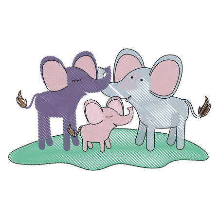 cartoon couple elephants and calf over grass in colored crayon silhouette vector illustration Ilustração