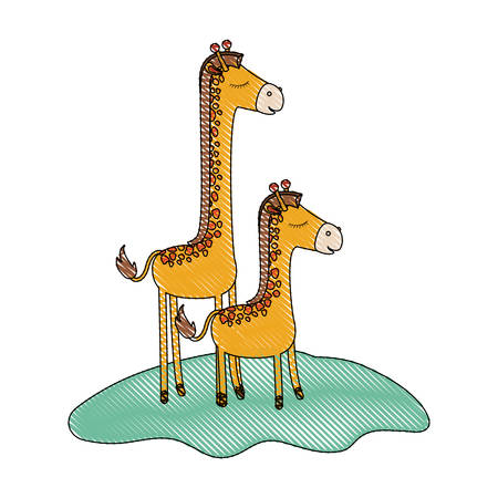 cartoon giraffe mom with calf over grass in colored crayon silhouette vector illustration