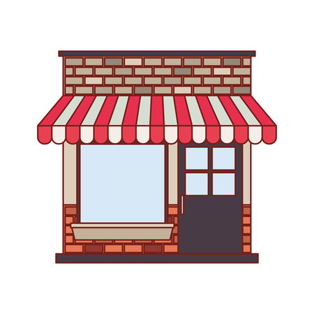 Store facade with sunshade in colorful silhouette and thin red contour line vector illustration Illustration