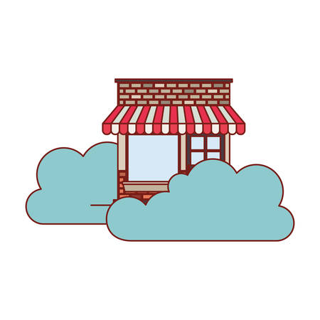 store facade with clouds in colorful silhouette vector illustration