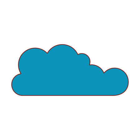 cloud icon flat in colorful silhouette vector illustration