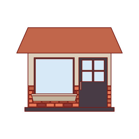 house facade of one floor in colorful silhouette vector illustration 일러스트