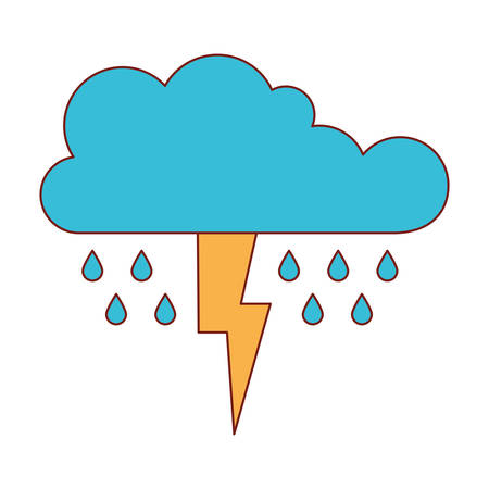 cloud with rain and thunderbolt in colorful silhouette vector illustration