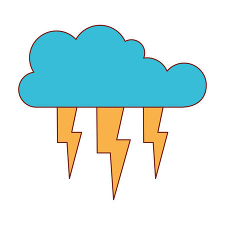 cloud with lightnings in colorful silhouette vector illustration Illustration