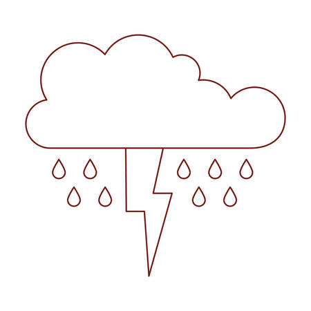 cloud with rain and thunderbolt in dark red contour vector illustration