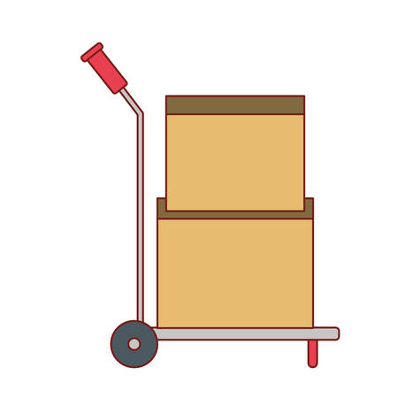 hand truck with cardboard boxes stacked and sealed in colorful silhouette vector illustration