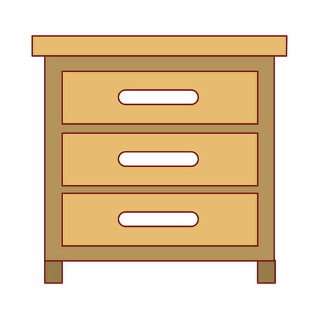 chest of drawers front view in colorful silhouette vector illustration Illustration