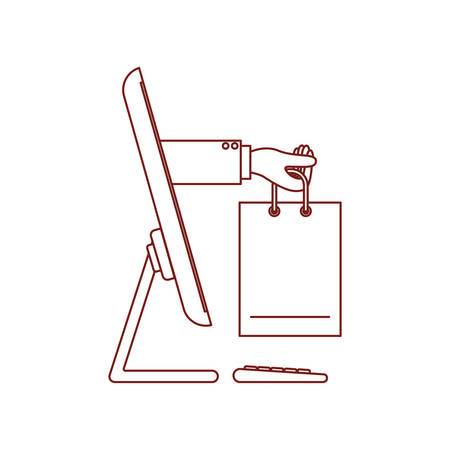 desktop computer and hand holding shopping bag of purchase online in dark red contour vector illustration