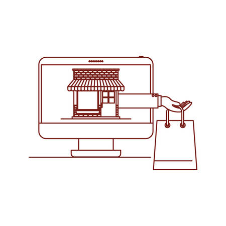 desktop computer front view with online store and shopping bag in screen on dark red contour vector illustration