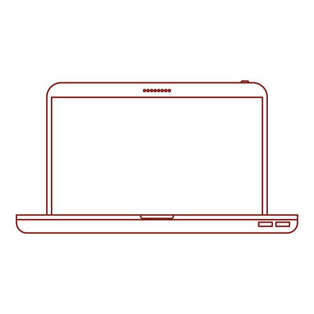 laptop computer front view in dark red contour vector illustration