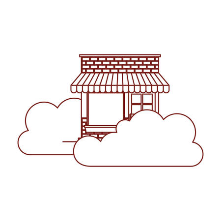 store facade with clouds in dark red contour vector illustration