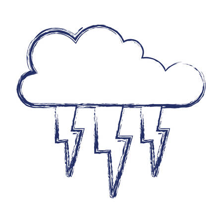 Cloud with lightnings in dark blue blurred silhouette vector illustration Illustration