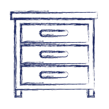 Chest of drawers front view in dark blue blurred silhouette vector illustration
